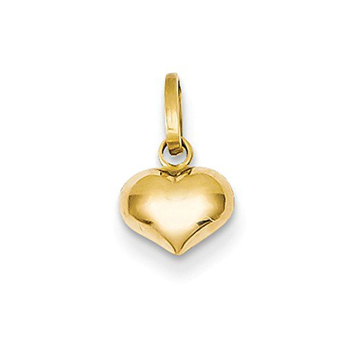 LooptyHoops Tiny 14K Yellow Gold 3D Puffed Heart Charm Pendant, 12mm x 7mm