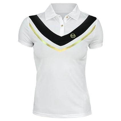 Sergio Tacchini Women s Sharon Polo Shirt (White Black Gold 5b029487ef