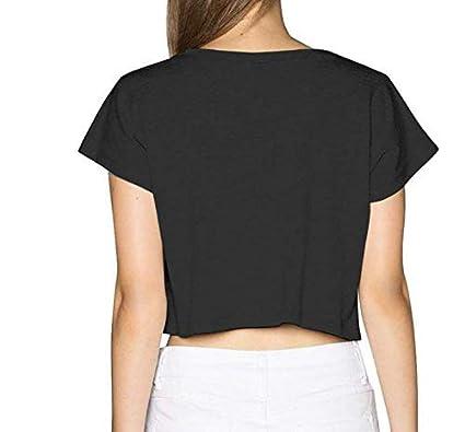 Rose Flamingo Women Basic Short Sleeve Crop Top Cotton Scoop Neck Shirt Black
