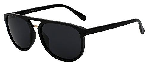 TIANLIANG04 gafas por de de Diseño sol de marco Gafas de bastidor de masculino guía Vintage gafas polarizadas mate sol grande Gloss calidad la marca gafas sol el de hombre frame negro alta black 1P1Iq6nr