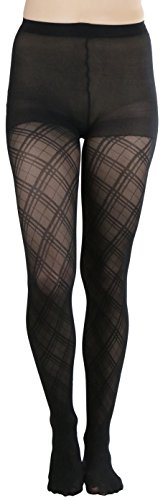 ToBeInStyle Women's Opaque Diamond Pattern Pantyhose - Black - One Size: - Pattern Diamond Pantyhose