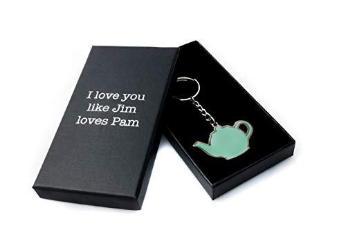 The Office Merchandise Keychain – Original Pam and Jim Teapot Keychain – CoolTVProps The Office TV Show Keychain – The Office Jim and Pam Teapot Authentic Keychain