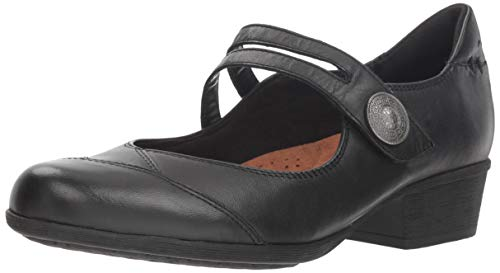 Rockport Women's Carly Asym Mary Jane Flat, Black, 10 M US (Jane Mary Women Shoes Rockport)