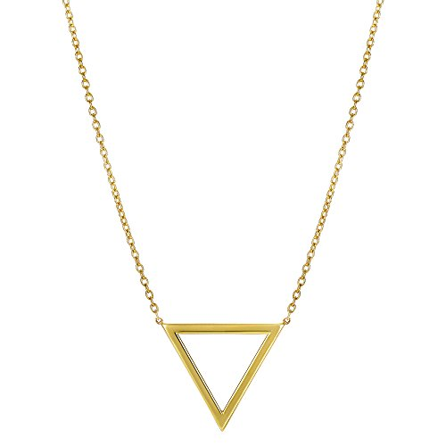 (14k Yellow Gold Triangle Delta Symbol Pendant Necklace, 18