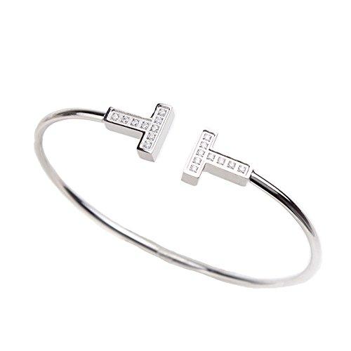 Baoli Titanium Steel Pave CNC Diamond Double T Letter Women's Cuff Bangle Bracelet (titanium-and-silver) ()