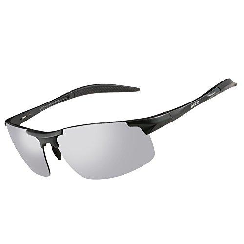 DUCO Sport Polarized Sunglass For Men HD Driver Sunglass UV Protection Durable Frame 8177S Gunmetal Frame Mirror Lens
