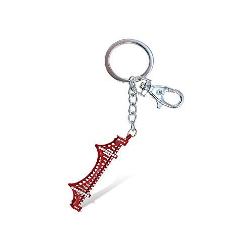 Aqua79 Crystal Charm Keychain, Rhinestone Silver Key Ring - Golden Gate Bridge ()