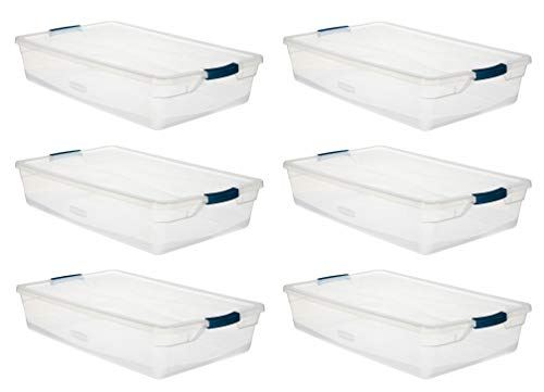 Rubbermaid Cleverstore Clear 41 QT Pack of 6 Storage Totes with Latching Lids, Stackable, Quart