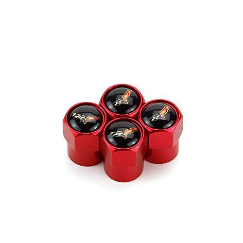 TK-KLZ 4Pcs Car Wheel Tires Valve Stem Caps for Chevrolet Corvette C6 Decorative Accessory