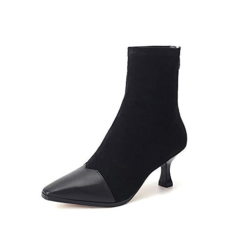 WHL Shoes High Heels Naked Single Horseshoe with Fashionable Boots in Autumn and Winter Black Thirty-Nine