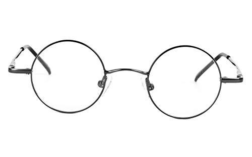 Agstum Small Round Prescription Eyeglasses Frame Clear Lens 37mm (X-small Size) (Grey, Non-Prescription Clear ()