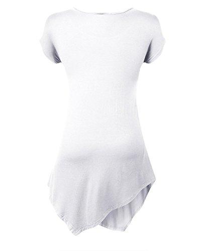 Moollyfox Manga Mujeres Ocasionales De Cuello Redondo Short Camiseta Blanco