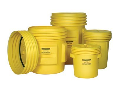 "Eagle 1601 Lab Pack Drum with Plastic Lever-lock, 30 Gallon,21-1/8"" OD x  28-1/2"" Height, Yellow"
