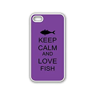 Keep Calm And Love Fish - Red Wood - Protective Designer BLACK Case - Fits Apple iPhone 5 / 5S