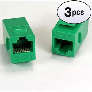 GOWOS Cat.6 Inline Coupler w//Keystone Latch Green 3 Pack