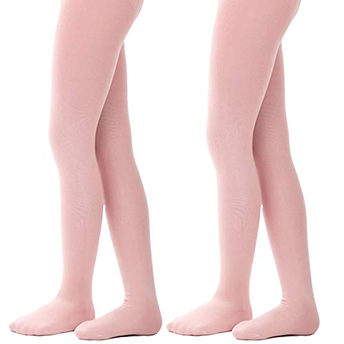 Tights for Girls Ballet Leotards Toddler Dance Leggings Pants Footed Kids,Pink - 2 Tights,5-7 Years