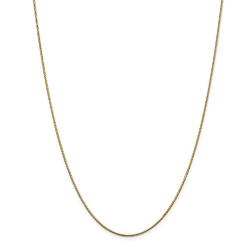 14k Yellow Gold 1 Mm Snake Necklace Pendant Charm Chain Round Fine Jewelry For Women Gift Set ()