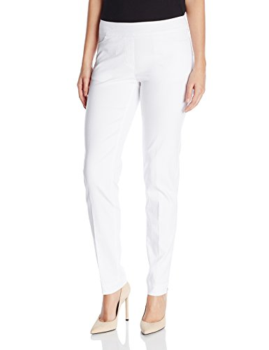 SLIM-SATION Women's Wide Band Pull On Straight Leg Pant with Front Pocket, White, 12