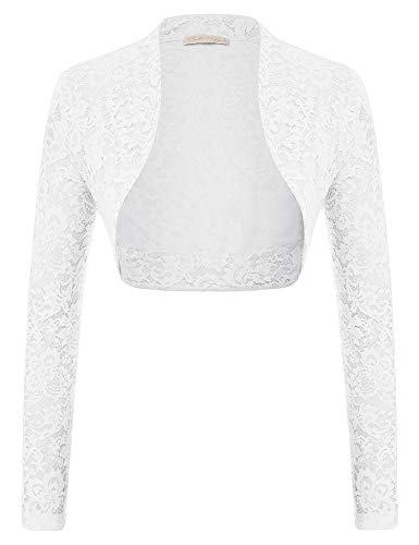 Ladies Floral Lace Shrug Bolero Cardigan Crop Top Under 15 Dollars (White,2XL)