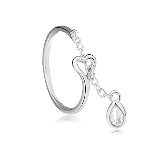 Sterling Silver Crystal Ring (925 Sterling Silver Statement Adjustable Ring for Women Love Heart, Teardrop, Cat, Pearl Charms (Heart Teardrop Crystal))