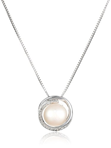Sterling Silver White Freshwater Cultured Pearl with Diamond Accent Swirl Pendant Necklace, 18