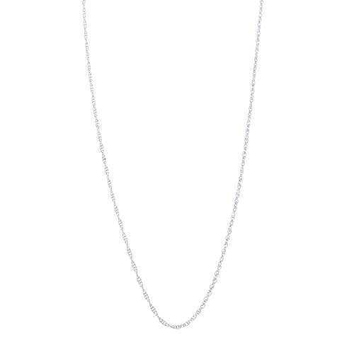 Beauniq 14k White Gold 0.90 Millimeters Delicate Rope Chain Necklace, 22 Inches