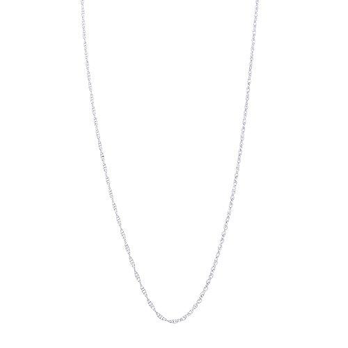 White Gold Breast 14k (Beauniq 14k White Gold 0.90mm Delicate Rope Chain Necklace, 20