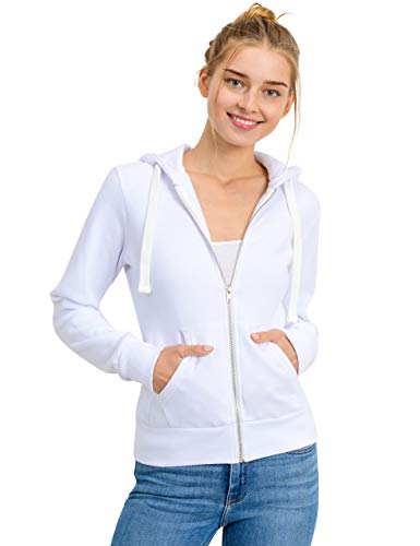 Full Hooded Fleece Womens Zip - esstive Women's Basic Fleece Full-Zip Hooded Jacket, White, Medium