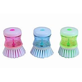 aeroware Dish/Washbasin Plastic Cleaning Brush with Liquid Soap Dispenser, Multicolour- 3 Pieces