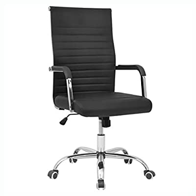 """HomyDelight Office Chair, Office Chair Artificial Leather 21.7""""x24.8"""" Black"""