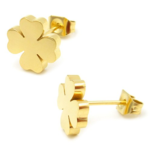 4 Leaf Clover Post Earrings - Stainless Steel Gold Color Four Leaf Clover Post Stud Earrings For Women Girls 9mm