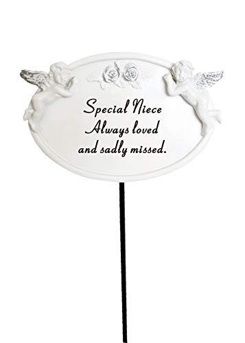 Remembrance Spike Niece White /& Silver Twin Cherub Memorial Stick Tribute Plaque Stake.