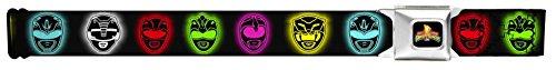 Power Rangers Live Action TV Series Neon Heads Lineup Seatbelt Belt (Power Ranger Belt)