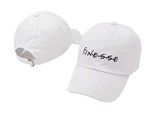 liujiangtao Dad Hat Finesse 3D Letters Embroidered Baseball Cap Adjustable Snapback Unisex White - Embroidered Cap Embroidered Hat