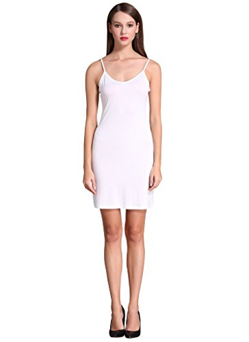 Women Long Spaghetti Strap Full Cami Slip Camisole Under Dress Liner, White, XS (Cami Under)