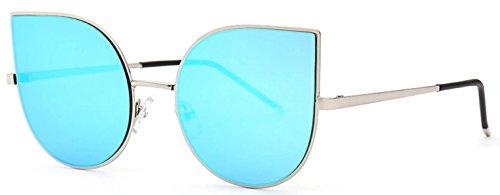 Vintage Cat Eye Sunglasses Metal Frame Mirror Blue Lens UV 400 - Sunglasses Framed Blue