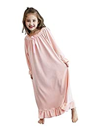 Girls Princess Nightgown, Soft Fleece Long Sleeve Sleepwear for Toddler 3-12 Years