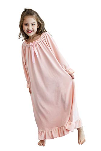 Girls Princess Nightgown, Winter Soft Fleece Long Sleeve Sleepwear for Kids 3-12 Years (Pink, 8-9Years/Size 140#)