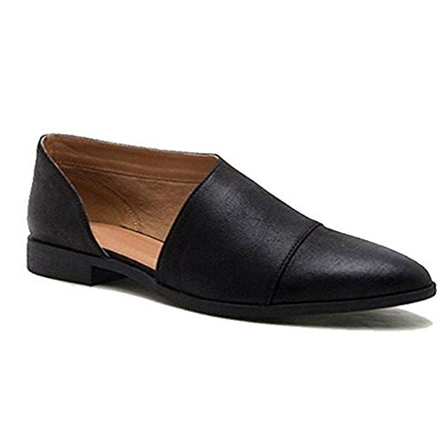 JOYBI Women Flat Loafers Comfortable Low Heel Faux Leather Slip On Breathable Pointed Toe Casual Shoes Black