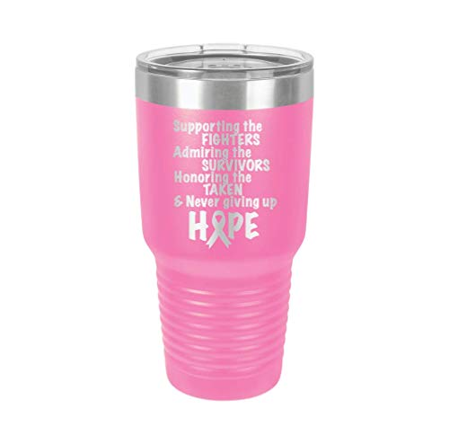 Breast Cancer Awareness Design 3 - Engraved Tumbler Wine Mug Cup Unique Birthday Gift Graduation Gifts for Men or Women Breast Cancer Awareness Pink Ribbon (30 Ring, Pink