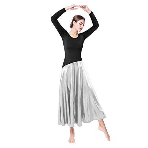 Praise Dance Dress Women Cotton Elegant Vintage Pagoda Sleeve Long Maxi Dress Casual Long Sleeve Prom Ball Gown Wedding Party Dresses Performance Modern Dance Hanukkah Outfit Black + Silver L ()