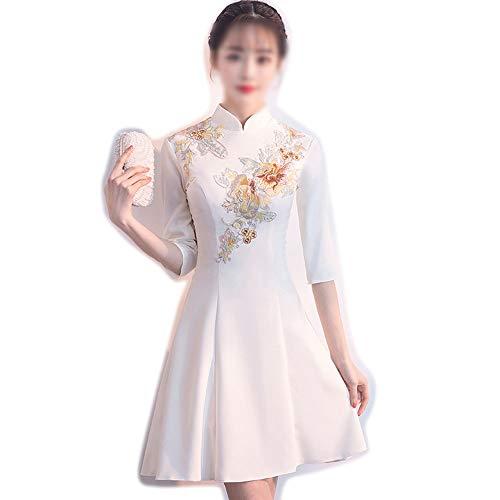 Pro-BikeUS Womens Mid-Sleeve Stand Collar Elegant Slim Chinese Cheongsam Dress (Color : White, Size : XXL) ()