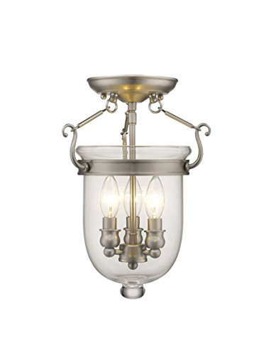 (Livex Lighting 5061-91 Jefferson 3 Light Brushed Nickel Bell Jar Semi Flush with Clear Glass)