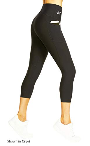 BTERFLY Anti Cellulite Leggings Compression Butt Lift Tummy Control with Pockets (XL 18-26 USA, Black Capri)