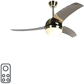 QAZQA Moderno Plafondventilator messing met smoke bladen - Bora 52 Plástico/Acero/Vidrio Redonda Adecuado para LED Max. 2 x 20 Watt