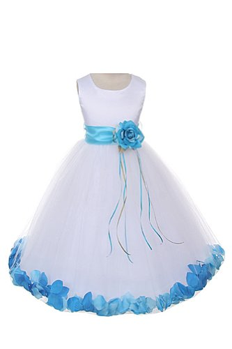 Satin Bodice Communion Flower Girl Pageant Petal Dress: White/Aqua - 4 (White Dress Tulle Satin Petals)