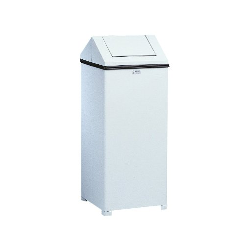 Rubbermaid Commercial FGT1414ERBWH WasteMaster Steel Hinged-Top Indoor Utility Trash Can with Retainer Bands, 14-Gallon,White