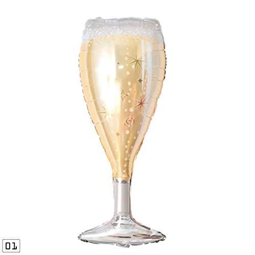RUNMIND Mini Helium Foil Balloons Pentagram Champagne Wineglass Shape Kids' Birthday Party Decorations Star Bottle -