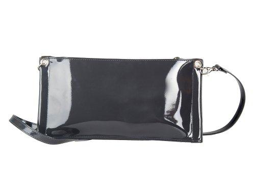 Borsetta donna ANNALUNA camoscio vernice grigio borchie MADE IN ITALY N379
