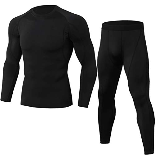 GREFER-Mens Mens Sport Suit New Long Sleeve Fitness Tops T-Shirts Tight Long Pants Sweatpants Athletic Sets Tracksuits Black